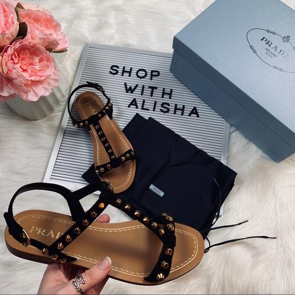 eb81774cac8 Brand New Prada Black Saffiano Leather Sandals